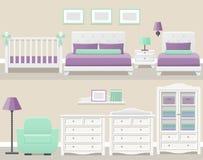 Flat bedroom interior. Vector illustration. Set white bedroom furniture in flat design. Modern room interior. Vector illustration Stock Images