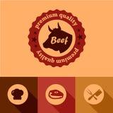 Flat beef design elements Royalty Free Stock Photos