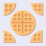 Flat belgian waffles. Flat minimalistic illustration of sweet belgian waffles solid and cuted royalty free illustration
