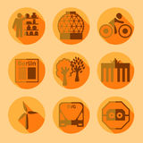 Flat Berlin icons with shadow Royalty Free Stock Images