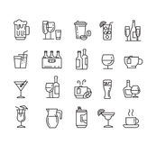 Flat beverages icons. Vector black flat beverages icons on white Stock Image