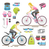 Flat bicycle equipment icon rider vector illustration. Active casual transportation fun accessories set. Urban biking sport and equipment lifestyle cycling flat stock illustration