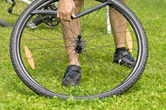 Flat bicycle tire Royalty Free Stock Image