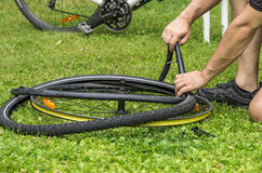 flat bicycle tire Stock Photo