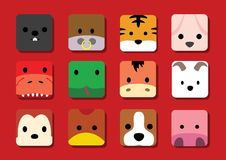 Flat Big Animal Faces Application Cartoon Chinese Zodiac. Animal Icons EPS10 File Format Royalty Free Stock Photography