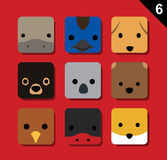 Flat Big Animal Faces Application Icon Cartoon Vector Set 6 (Australia) Royalty Free Stock Photos