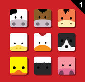 Flat Big Animal Faces Application Icon Cartoon Vector Set 1 (Farm Animals) Royalty Free Stock Image