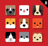 Flat Big Animal Faces Application Icon Cartoon Vector Set 8 (Pet) 4 Royalty Free Stock Photography