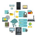 Big data icons set, flat style. Flat big data icons set. Universal big data icons to use for web and mobile UI, set of basic big data elements isolated vector Stock Photography