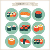 Flat Big Food Sushi Set Circle Icons Stock Photography
