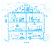 Flat big house silhouette blue Stock Image