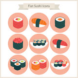 Flat Big Sushi Set Circle Icons Stock Image