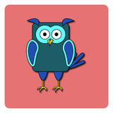 Flat bird design  on color background. Rounded rectangle blue night-bird owl. Funny cartoon bird. Abstract bird Royalty Free Stock Images