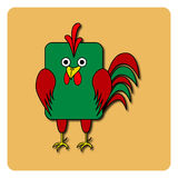 Flat bird design  on color background. Rounded rectangle green and red rooster cock. Funny cartoon bird Stock Photography