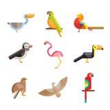 Flat birds made from geometric figures. Vector Stock Photos