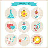Flat Birth and Fertility Icons Set Royalty Free Stock Photos