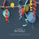 Flat birthday background Stock Images
