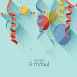 Flat birthday background Stock Photos
