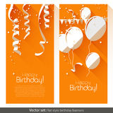 Flat Birthday banners Stock Photography