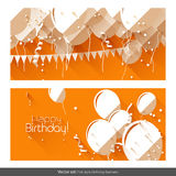 Flat birthday banners Stock Photos