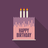 Flat Birthday Cake Card Royalty Free Stock Images