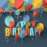 Flat birthday greeting card Stock Image