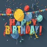 Flat birthday greeting card. Colorful birthday greeting card with colorful balloons/flat design style Stock Photos