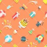 Flat Birthday Party Celebration Icons Seamless Pattern Stock Photos