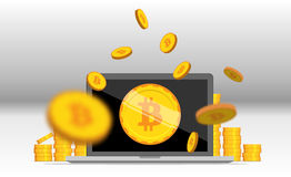 Flat bitcoin. Golden coins stack with computer mining equipment. Stock Photo