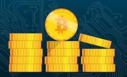 Flat bitcoin. Golden coins stack. Bitcoin mining equipment. Digital Bitcoin. Golden coin with Bitcoin symbol. Flat isometric coins bitcoin concept Stock Photos