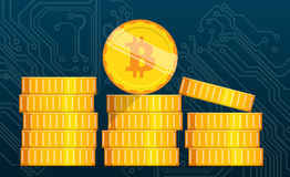Flat bitcoin. Golden coins stack. Bitcoin mining equipment. Digital Bitcoin. Golden coin with Bitcoin symbol. Flat isometric coins bitcoin concept Royalty Free Stock Images