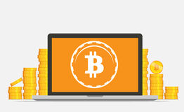Flat bitcoin mining equipment. Golden coin with Bitcoin symbol in computer concept. Royalty Free Stock Photo