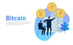 Flat bitcoin online mining concept web infographics vector illustration. Man on computer and bit coin mine service Royalty Free Stock Photo