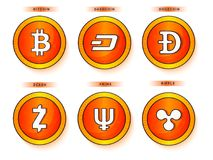 Flat bitcoins on grey background. Royalty Free Stock Image