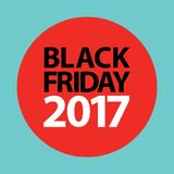 Flat black friday 2017 price tag sticker on red Stock Photo