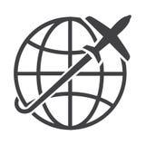 Flat black globe icon Stock Photos