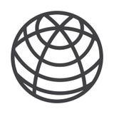 Flat black globe icon Stock Photo