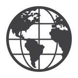 Flat black globe icon Royalty Free Stock Image