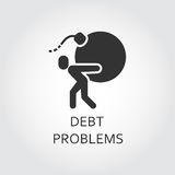 Flat black icon debt problems, loan man carries a bomb. Label of debt problems, loan as man carries a bomb. Simple black icon. Logo drawn in flat style. Black Stock Photography