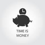 Flat black icon time is money. Piggy bank and clock. Label of time is money. Piggy bank and clock. Simple black icon. Logo drawn in flat style. Black shape Royalty Free Stock Image