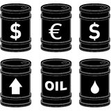 Flat Black Oil Barrels With Symbols. A detailed vector set of flat black oil barrels with currency and other symbols Stock Photos