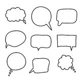 Flat black speech bubbles. hand drawn icons Royalty Free Stock Photos