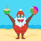 Flat Black Summer Santa Royalty Free Stock Image