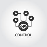 Flat black vector icon control system supervision as eye. Label of control system supervision as eye of the beholder. Simple black icon. Logo drawn in flat Stock Images