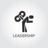 Flat black vector icon leadership, lack motivation, key man marionette. Label of . Simple black icon Logo drawn in flat style. Black shape pictograph for your Royalty Free Stock Image