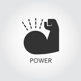 Flat black vector icon power as muscle hand. Label of power. Muscle hand. Simple black icon. Logo drawn in flat style. Black shape pictograph for your design Stock Photography