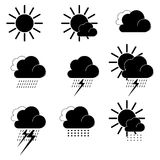 Flat black weather icons. Raster Royalty Free Stock Photos