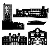 Flat black and white building of Monaco country, travel icon landmarks in Monte Carlo. City architecture. World travel vacation sightseeing European collection vector illustration