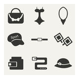 Flat in black and white concept mobile application. Accessories Royalty Free Stock Photos