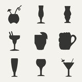 Flat in black and white concept mobile application. Coctails Stock Images